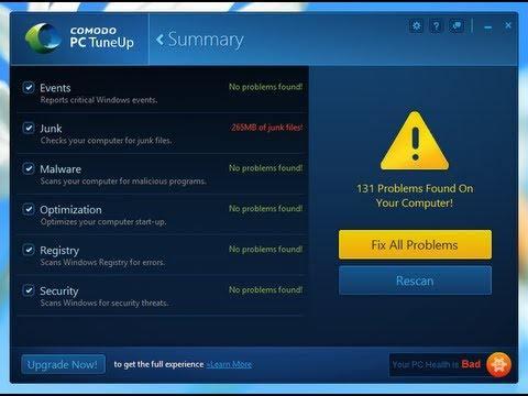 Comodo PC TuneUp Windows 10 optimizer
