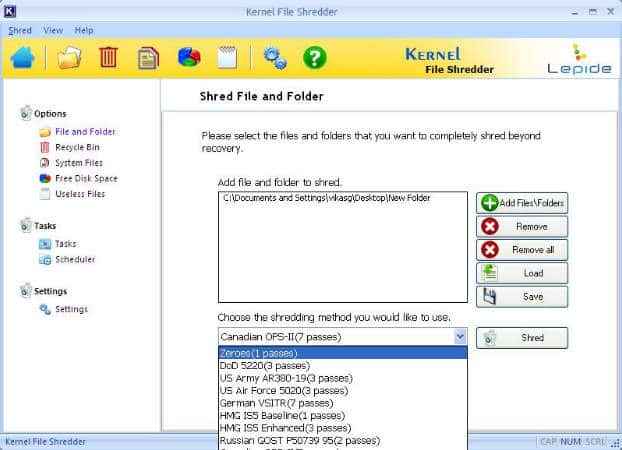 Kernel File Shredder best file shredder for Windows 10