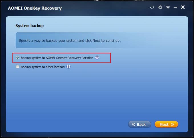 Choose Backup system option to create Win 10 recovery partition