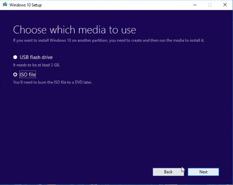 Choose the ISO file option to setup recovery partition Windows 10