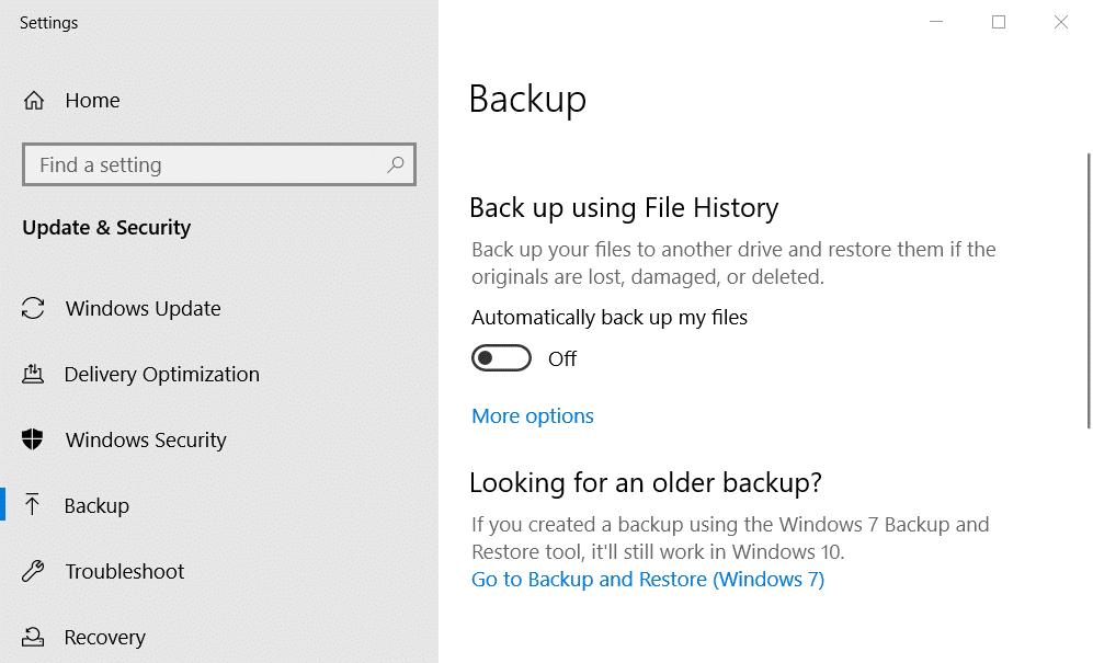 click the Backup tab