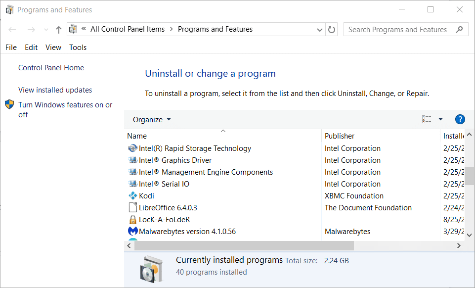 """click """"View installed updates"""" to fix Undoing changes made to your computer"""
