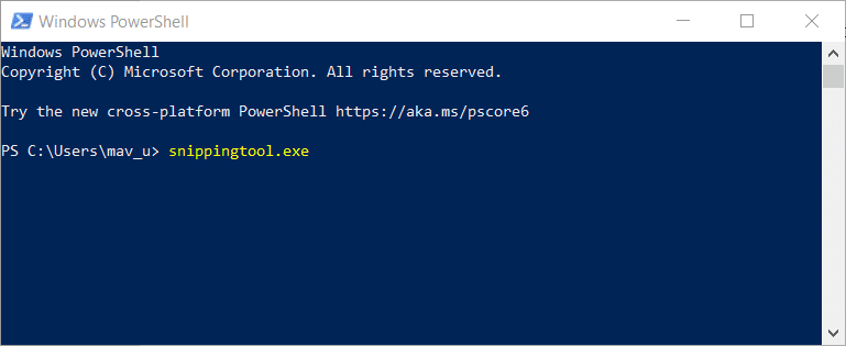 "input ""snippingtool.exe"" in PowerShell"