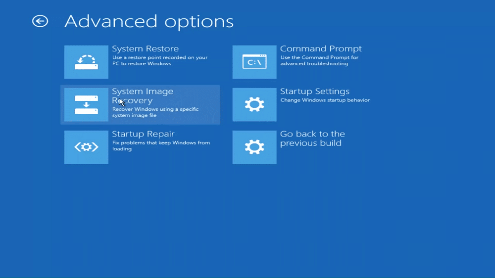 open Advanced options menu to resolve Windows 10 Undoing changes made to your computer