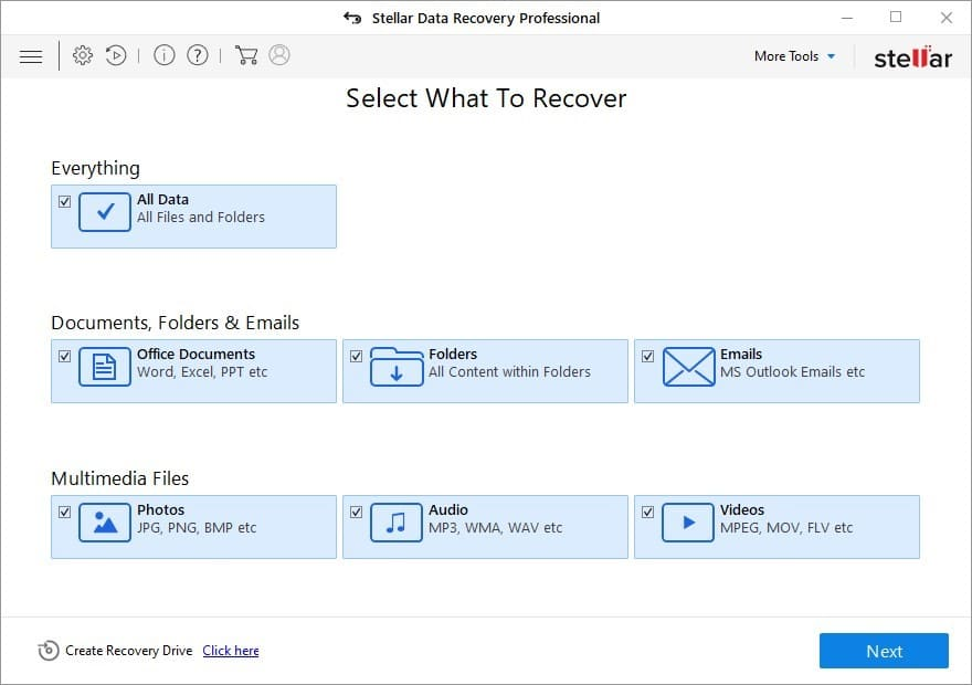 Select Photos to recover in Stellar Data Recovery
