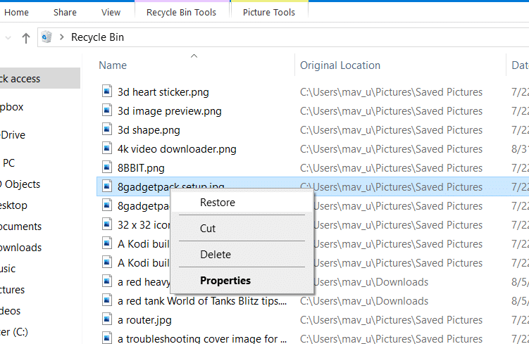 select Restore option to recover deleted photos from computer