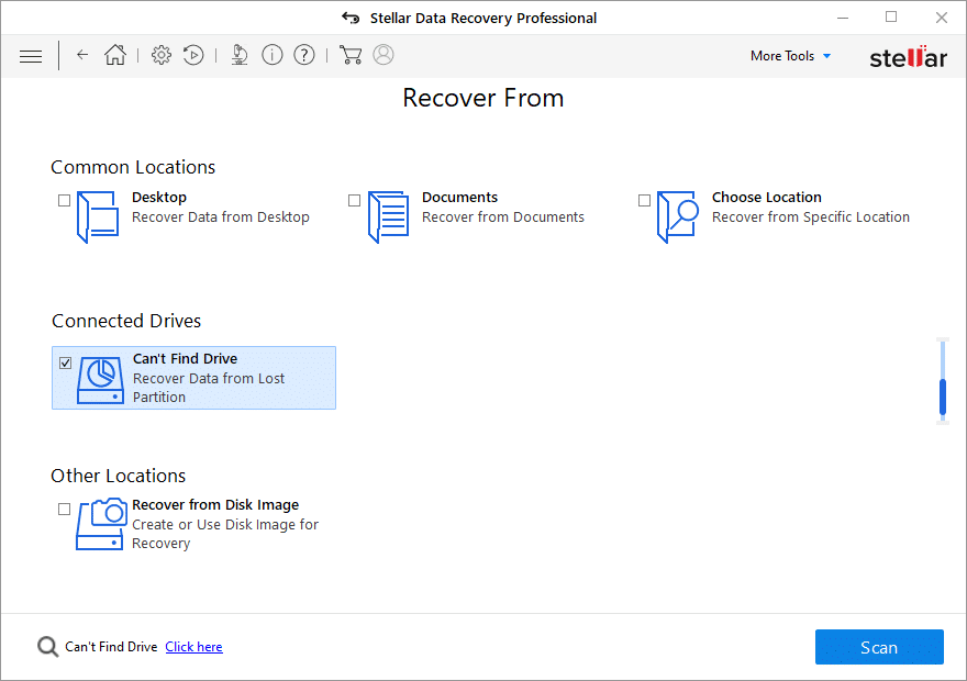 The Can't Find Drive option to recover Windows 10 recovery partition
