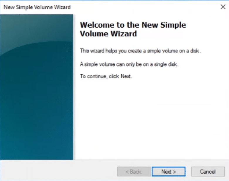 The New Simple Volume Wizard window