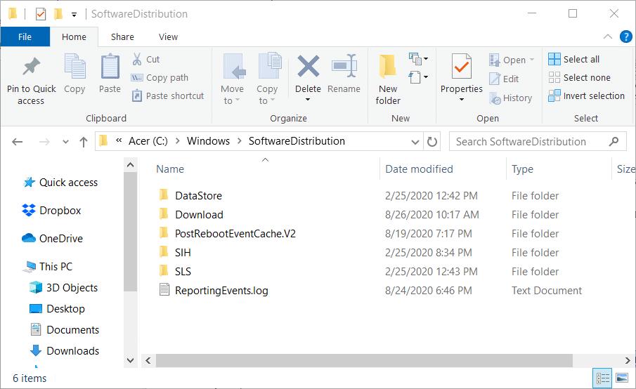 The SoftwareDistribution folder