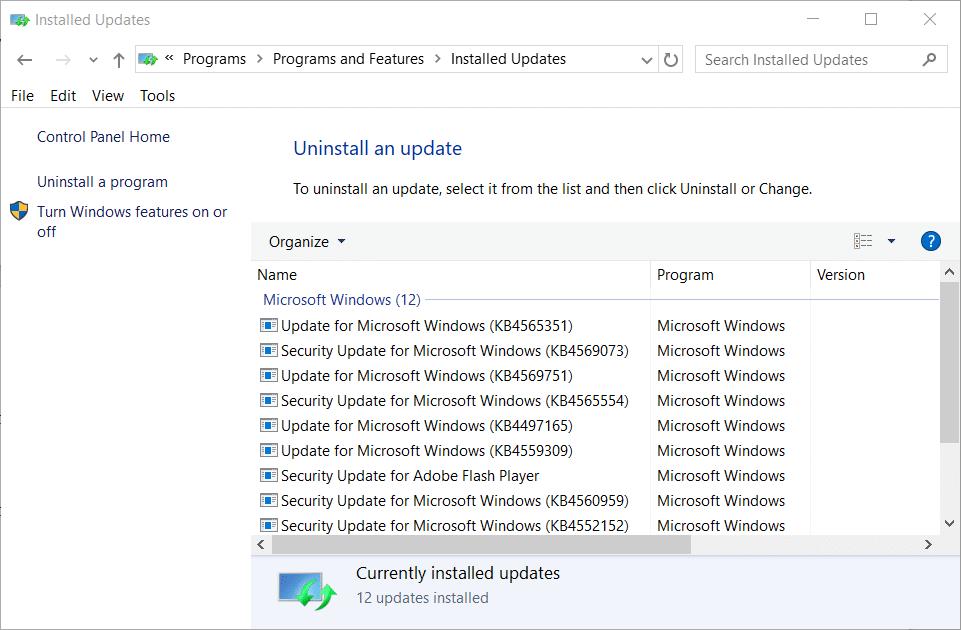 The Uninstall an update list