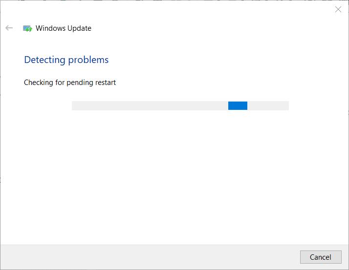 The Windows Update troubleshooter window