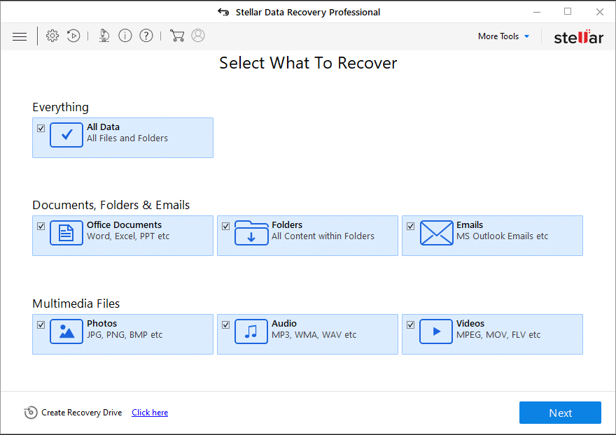 Use Stellar Data Recovery to recover lost recovery partition