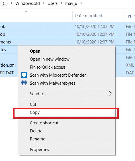 choose Copy option to copy Windows old files