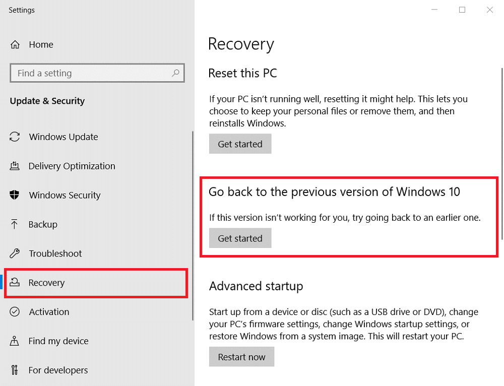choose Recovery and press Get started to restore Windows from Windows old