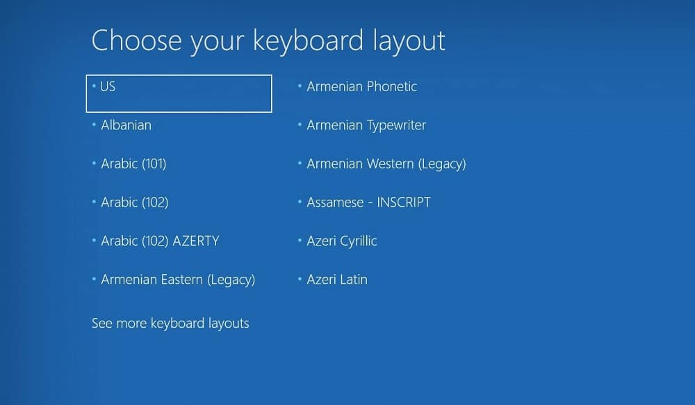 Choose your keyboard layout menu