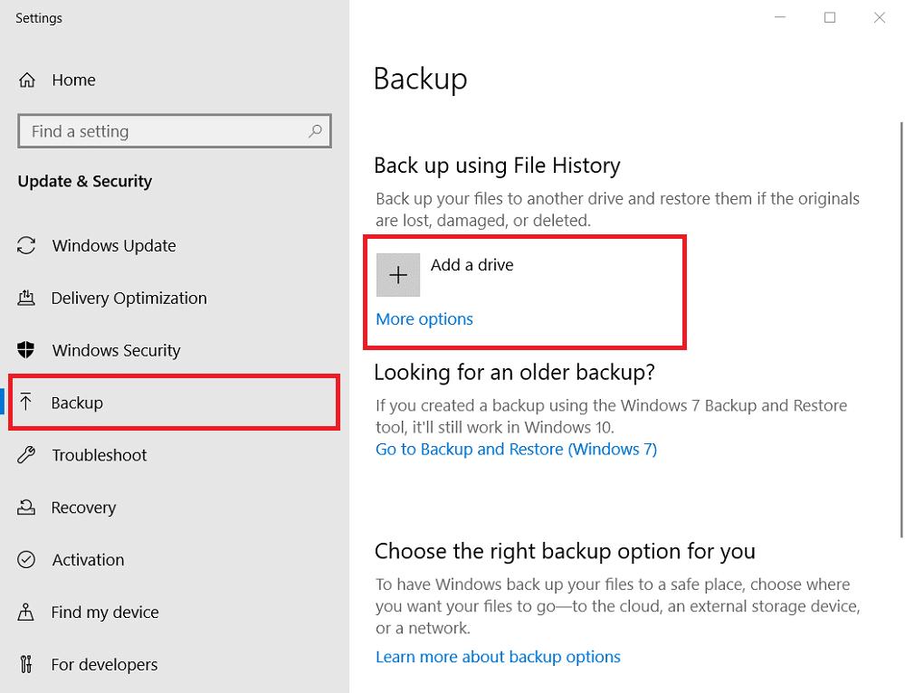 click Backup option to backup Windows old files
