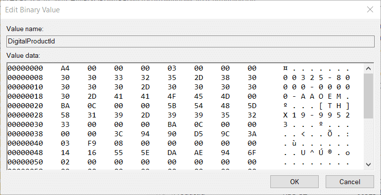 Edit Binary Value window