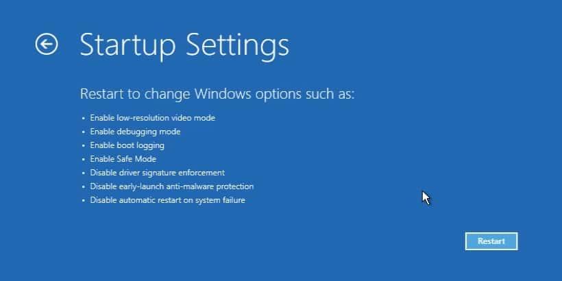 "press ""Restart"" button to open system restore command prompt Windows 10"