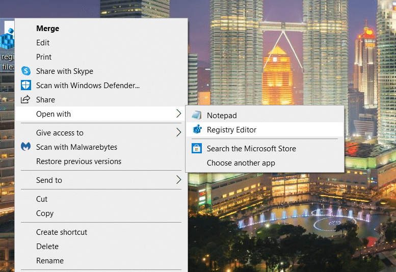 select Open with option to get Windows 10 product key