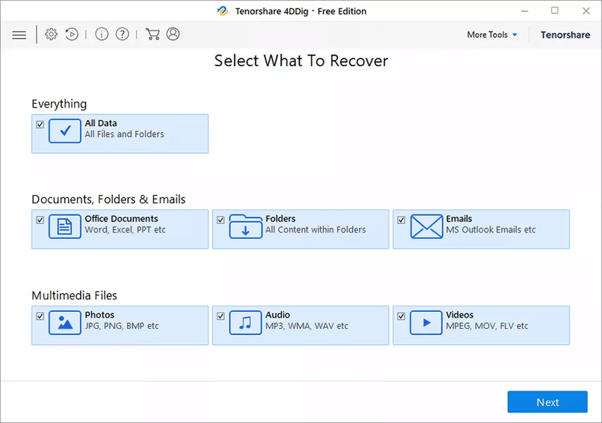 choose a type to recover data from crashed computer