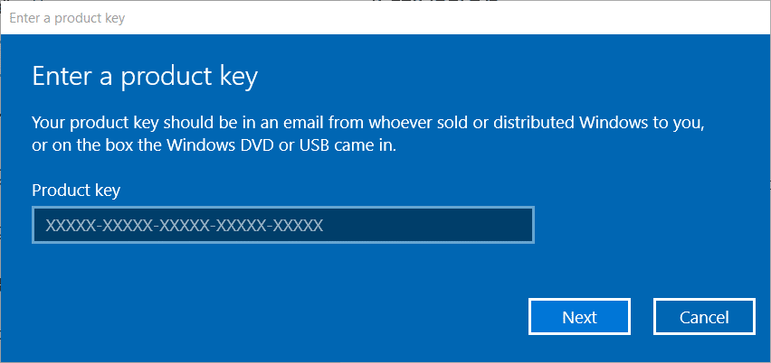the Enter a product key window