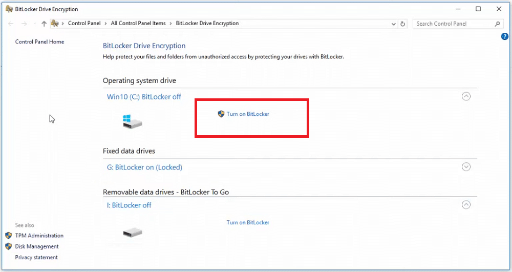 "Click ""Turn on BitLocker"" option"