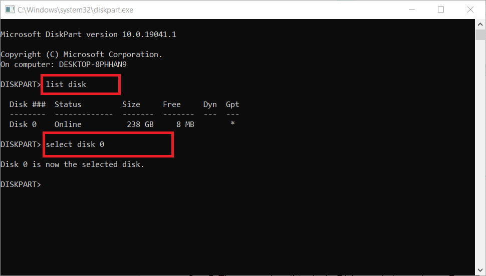enter select disk command