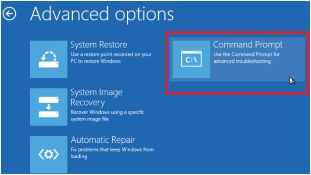 select command prompt to regain files