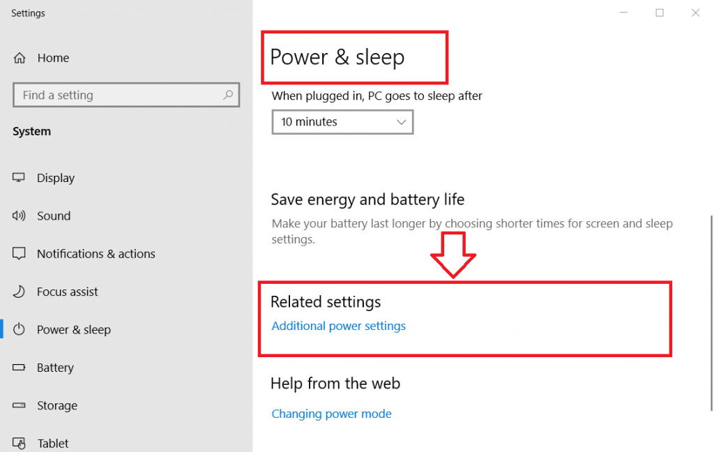 "Click ""Additional power settings"" in Power & sleep"