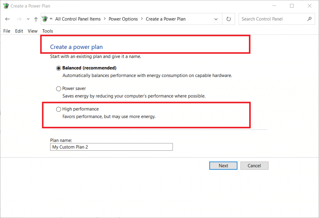 "select ""High performance"" in create a power plan settings"