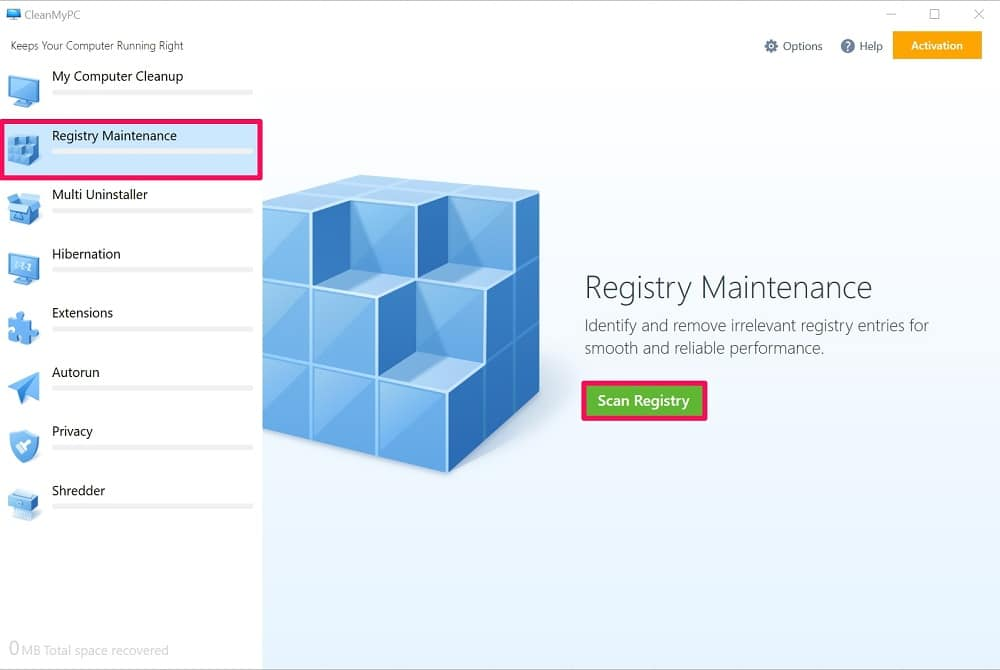 click on Scan Registry in CleanMyPC