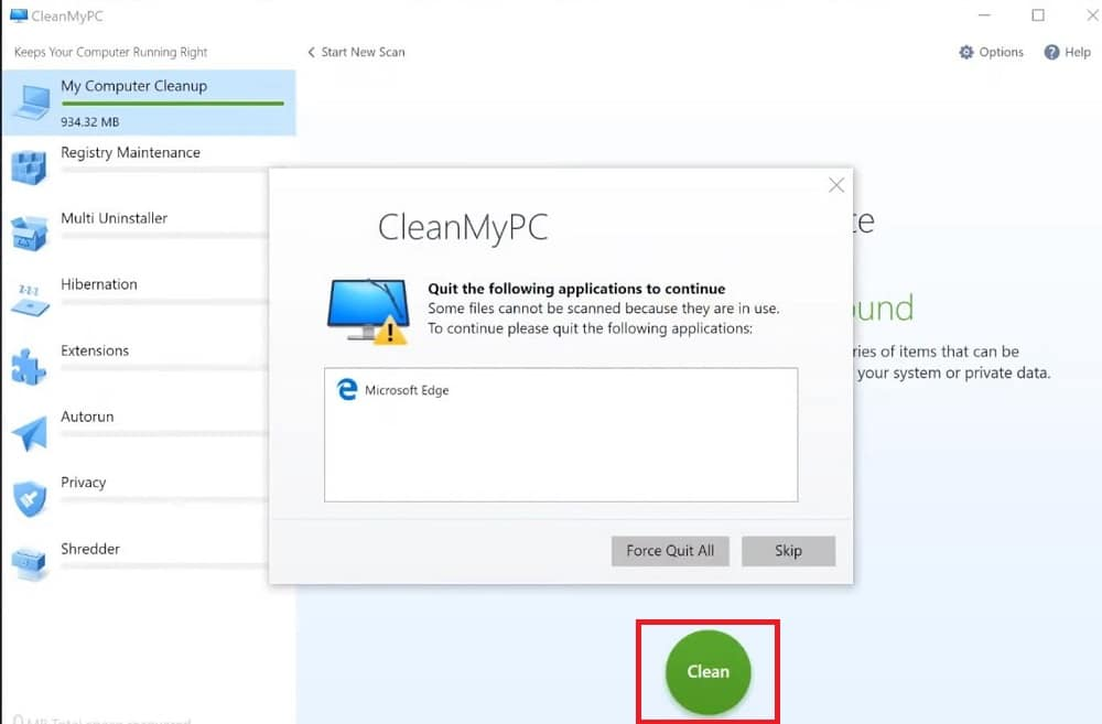My Computer Cleanup in CleanMyPC – Clean