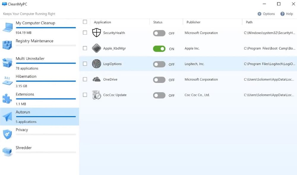 Turn off auto-startup programs from autorun in CleanMyPC