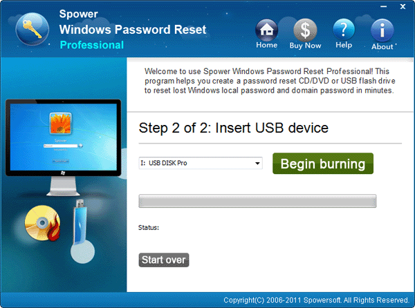 Begin burning Windows 7 password reset disk
