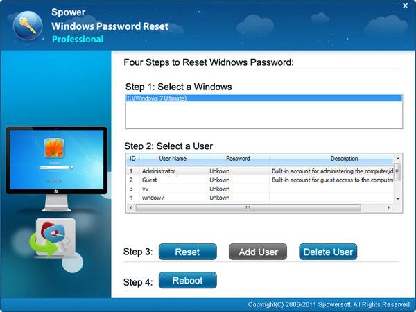 select a Windows and user to reset password