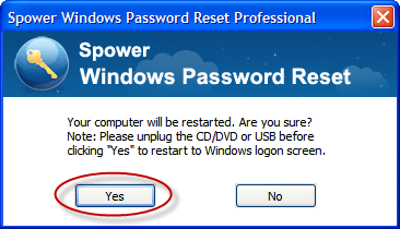 Confirm warning message and click yes to reset Windows 2008 r2 password
