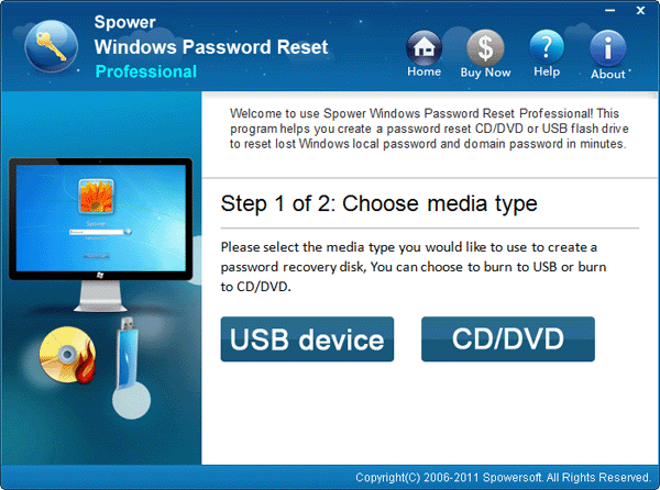 Choose media type to burn a reset disk for surface password reset