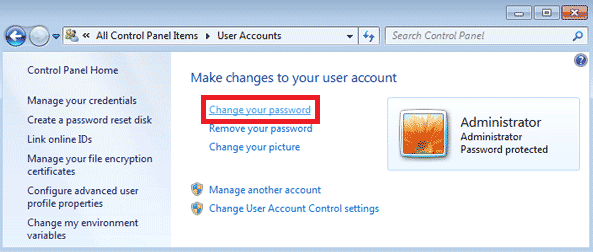 change your password option