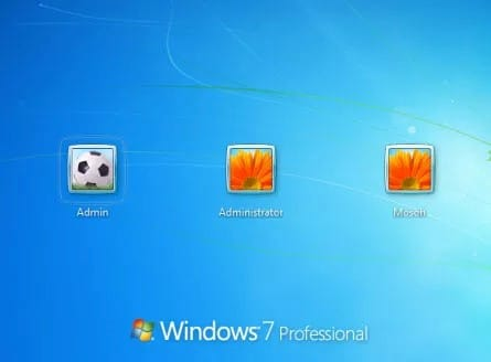 choose administrator account in Windows 7 login screen