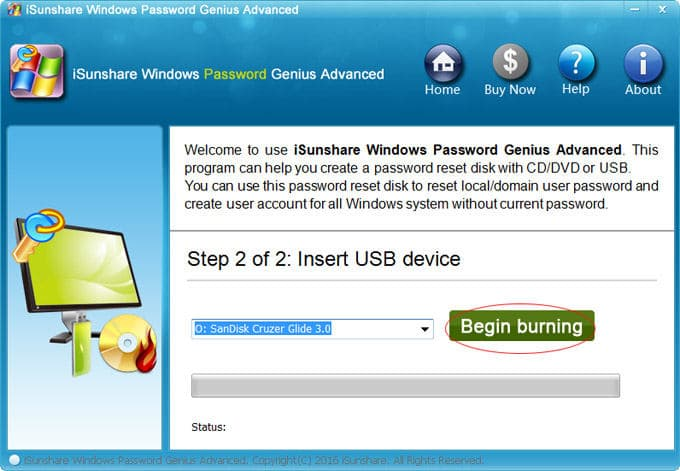 isunshare click begin burning