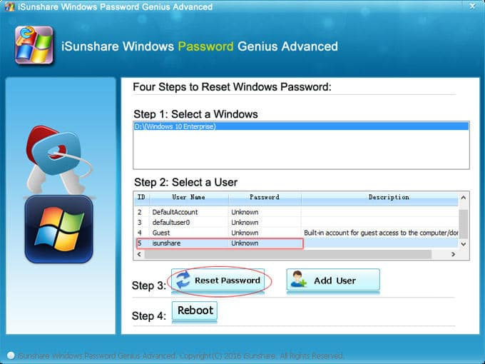 unlock the Windows password successfully