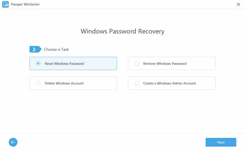 winsenior choose reset password