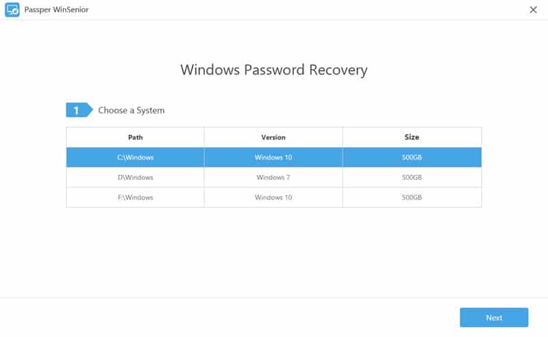 Das Windows-System auswählen
