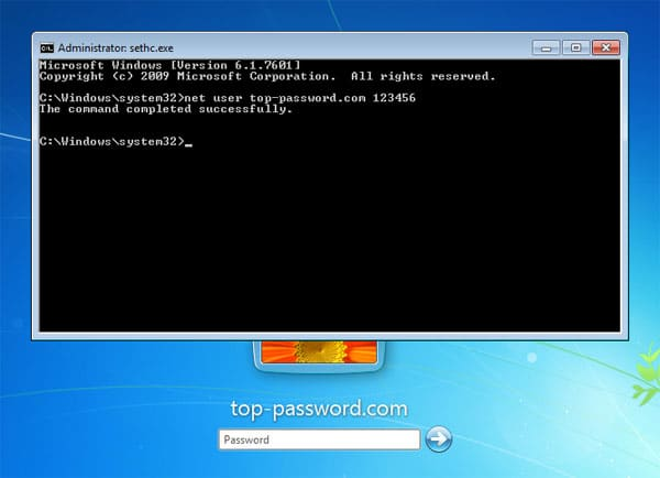 reset Windows 7 password with installation disk