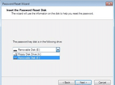 choose the password reset disk