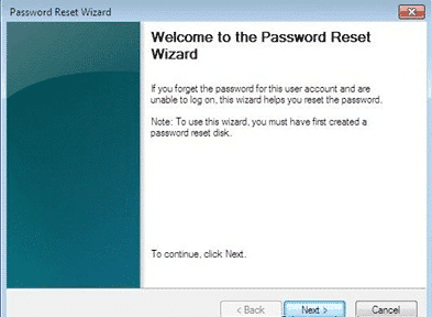 password reset wizard sur Windows 7