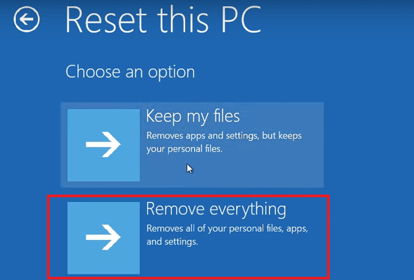 Select Remove everything to factory reset Acer laptop
