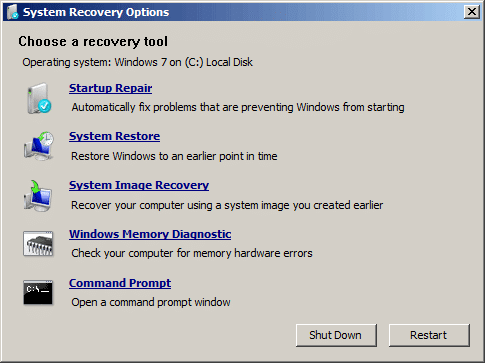 windows 7 command prompt system recovery options