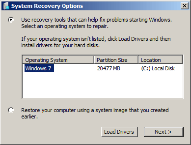 Select the Windows installation