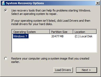Options de récupération système sur Windows 7